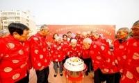 重阳节淮安一社区17位耄耋老人集体过生日